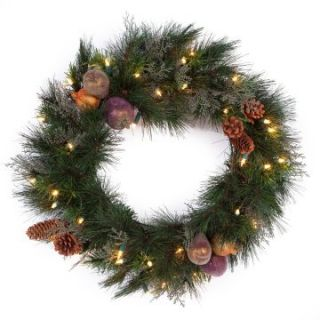 24 in. Abington Pre Lit Christmas Wreath   Christmas Wreaths