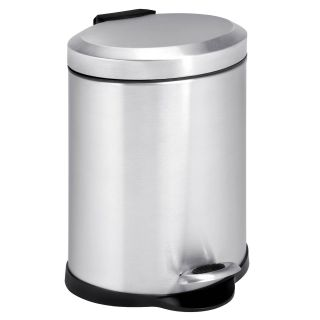Honey Can Do Oval Stainless Steel Step 1 Gallon Trash Can   Kitchen Trash Cans