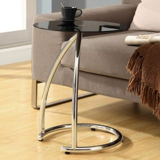 Monarch Round Chrome Metal Accent Table with Black Tempered Glass   End Tables