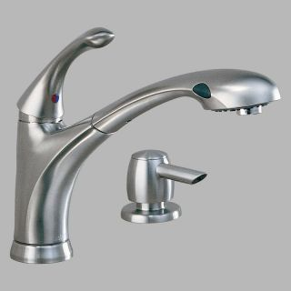 Delta Debonair 16927 Single Handle Pull Out Kitchen Faucet with Soap Dispenser   Kitchen Faucets
