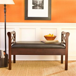 SEI Warrenton Espresso Storage Bench with Black Faux Leather Seat   Bedroom Benches