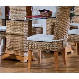 Hospitality Rattan Sea Breeze Indoor Seagrass 42 x 72 in. Pedestal Dining Table with Beveled Glass   Natural   Dining Tables