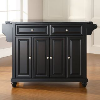Crosley Cambridge Solid Black Granite Top Kitchen Island   Kitchen Islands and Carts