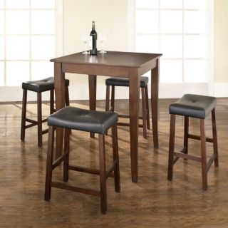 Crosley 5 Piece Counter Height Dining Set with Cabriole Leg and Upholstered Saddle Stools   Indoor Bistro Sets