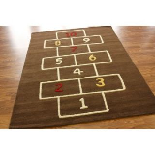nuLOOM SEKD34A Hopscotch Area Rug   Brown   3.5 x 5.5 ft.   Kids Rugs