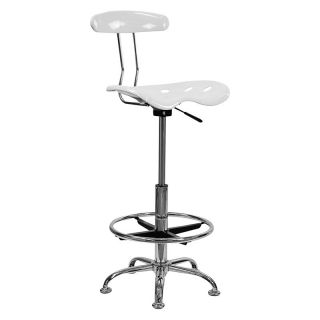 Vibrant Drafting Stool with Tractor Seat   White and Chrome   Drafting Chairs & Stools