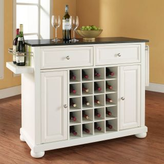 Crosley Alexandria Solid Black Granite Top Wine Island with Bun Feet   Kitchen Islands and Carts