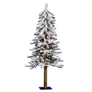 4 ft. Flocked Alpine Pre lit Christmas Tree   Christmas Trees