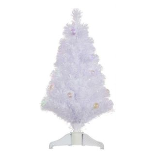Vickerman 3 ft. White Fiber Optic Christmas Tree with Ball Ornaments   Christmas Trees
