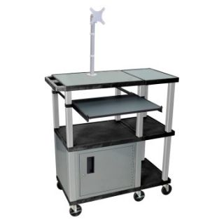 Luxor Extra Wide Laptop Presentation Cart with Monitor Mount and Security Cabinet   Black/Nickel   Computer Carts