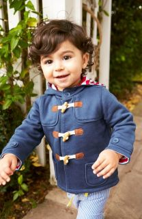 Mini Boden Duffle Coat & Straight Leg Jeans (Baby Boys)