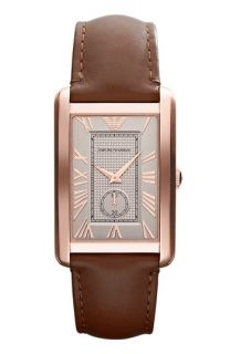 AX Armani Exchange Rectangular Leather Strap Watch, 43mm x 36mm