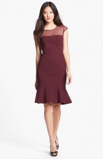 Adrianna Papell Illusion Yoke Fluted Sheath Dress (Regular & Petite)