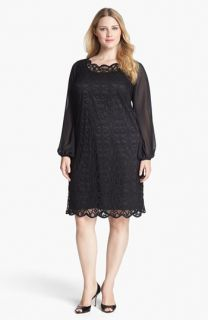Adrianna Papell Lace & Chiffon Shift Dress (Plus Size)