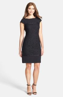 Adrianna Papell Scalloped Lace Sheath Dress (Regular & Petite)