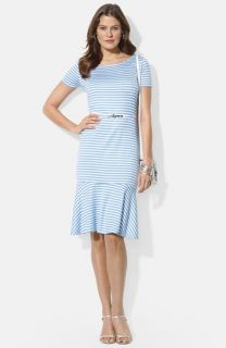 Lauren Ralph Lauren Belted Stripe Ballet Neck Stretch Knit Dress (Petite)