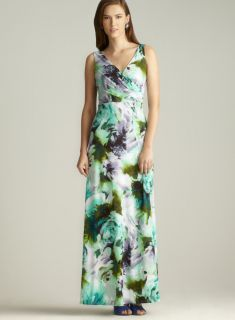 Isaac Mizrahi Floral Printed Surplice Maxi Dress Casual Dresses
