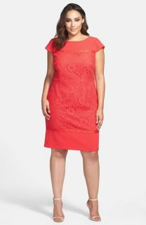 Adrianna Papell Scalloped Lace Sheath Dress (Plus Size)
