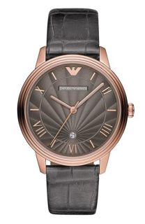 Emporio Armani Textured Dial Leather Strap Watch, 41mm