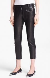 Michael Kors Plonge Leather Capri Pants