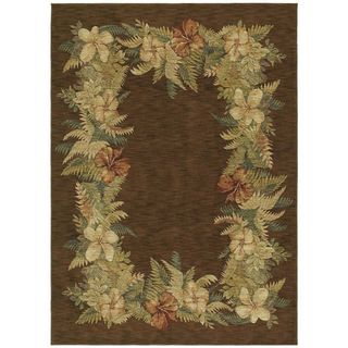 Tommy Bahama Border Bouquet Dark Brown Rug (3'6 x 5') Tommy Bahama 3x5   4x6 Rugs