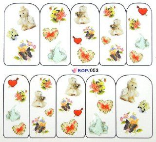 Egoodforyou BLE Water Slide Water Transfer Nail Tattoo Nail Decal Sticker Oil Portray (Wedding Bears with Heart Wreath) with one packaged nail art flower sticker bonus Beauty