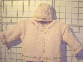 Knitted Infant Girls Baby Pink Chenille Sweater Hat with Satin Daisy Ribbons Clothing