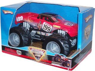 "Hot Wheels Monster Jam 124 Scale Die Cast Official Monster Truck 2008 Series   TRAVIS PASTRANA #199 with Monster Tires, Working Suspension and 4 Wheel Steering (Dimension 7"" L x 5 1/2"" W x 4 1/2"" H) Toys & Games"