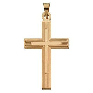 Mens Womens 14k Yellow Gold Cross Pendant with Embossed Cross inside the Cross Jewelry