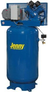 Jenny Compressors W3B 80V 208/3 3 HP 80 Gallon Tank 440 Pump RPM 3 Phase 208 Volt, Vertical Electric Two Stage Stationary Compressor   Stacked Tank Air Compressors