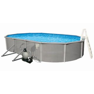 Belize Oval 48 inch Deep, 6 inch Rail Metal Wall Swimming Pool Package Swim Time Above Ground Pools