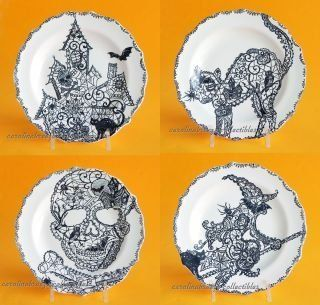 "222 Fifth Halloween ""Wiccan Lace"" Snack Party Appetizer Plates 6"" Black & White Porcelain, Set of 4 Designs Cat, Haunted House, Skull, Witch Kitchen & Dining"