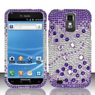 IMAGITOUCH(TM) PURPLE SILVER DIAMOND BLING HARD CASE COVER SAMSUNG GALAXY S2 II T989 +LCD GUARD and Pry Removal Tool Cell Phones & Accessories
