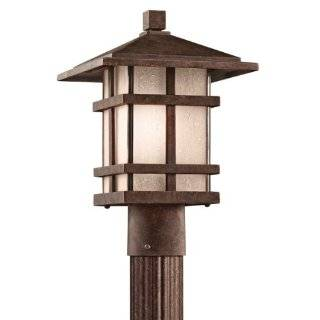 Kichler Lighting 9527AGZ Cross Creek 14 inch Outdoor Post Light, Aged Bronze with Textured Linen Seedy Glass   Craftsman Style Lamp Post