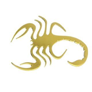 Auto Car Gold Tone Chrome Plated Scorpion Badge Sticker Decor Automotive