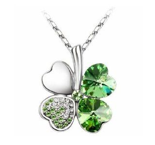 Swarovski Elements Crystal Four Leaf Clover Pendant Necklace (WIIPU B234) Jewelry