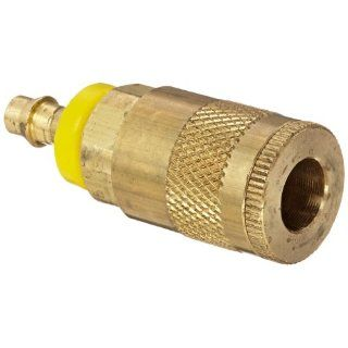 "Dixon Valve DC242L Brass Air Chief Automotive Interchange Quick Connect Air Hose Socket, 1/4"" Coupler x 1/4"" Push On Hose ID Barb, 37 CFM Flow Rating"