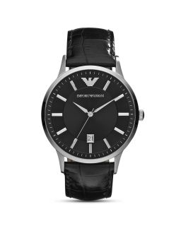 Emporio Armani Round Silver & Black Watch with Crocodile Embossed Strap, 43mm's
