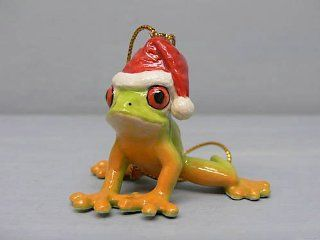 FROG RED EYED TREE n Santa Hat Christmas Ornament PORCELAIN MINIATURE New NORTHERN ROSE R259   Collectible Figurines