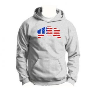 USA American Flag Youth Hoodie Sweatshirt Small Ash Clothing