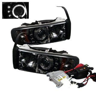 High Performance Xenon HID Dodge Ram 1500 / Ram 2500/3500 ( Non Sport Model ) 1PC Halo LED ( Replaceable LEDs ) Projector Headlights with Premium Ballast   Chrome with 10000K Deep Blue HID Automotive