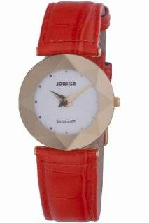 Jowissa Women's J5.264.M Facet Gold PVD Stainless Steel Orange Genuine Leather Watch Watches