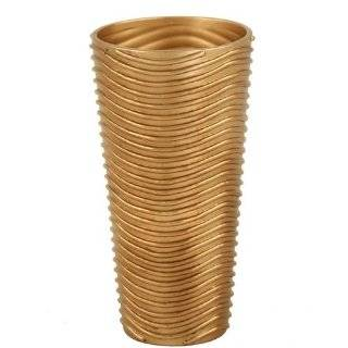 DDI DDI 261C Tall Cylinder Vase with a Florentine Gold Finish and Wavy Line Relief