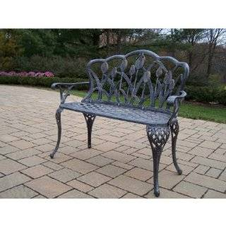 Oakland Living Tulip Cast Aluminum Curved Loveseat Bench in Antique Pewter Finish  Outdoor Benches  Patio, Lawn & Garden