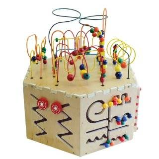 Six Sided Play table board Beaded Wire Rollercoaster Pathfinder, Learn the Alphabet, an Abacus, Gears, Magnetic Circle Express and a Ziggidy Zag Panel Toys & Games