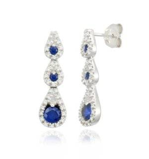 10k White Gold Triple Teardrop Created Blue Sapphire Diamond Earrings (1/5 cttw, I J Color, I2 I3 Clarity) Jewelry