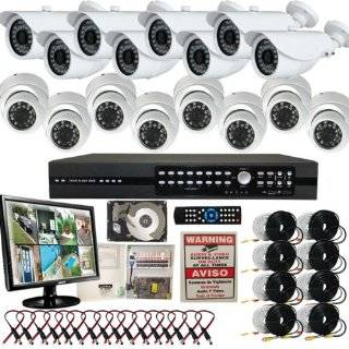 Evertech 16CH H.264 Standalone DVR CCTV Surveillance System with 8 Bullet Sony CCD Cameras & 8 Dome Sony CCD Security Cameras 2TB HDD LCD Monitor  Camera & Photo