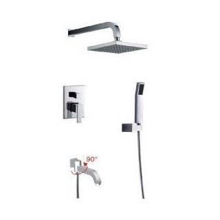Contemporary Wall Mount Tub Shower Faucet with Square Shower Head + Rotatable 90�Spout   Shower Systems