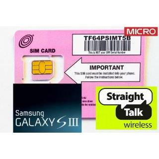Straight Talk Micro SIM Card for Samsung Galaxy S4 (T Mobile or unlocked GSM) (MICRO Size SIM). Also works with iPhone 4, 4S, Galaxy S4, Note II, LG Nexus 4, HTC One & S, Droid Razr Maxx, & Nokia Lumia Series Cell Phones & Accessories