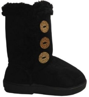 Babys Girls Infant Kids Toddler Button Flat Winter Fur Boots Shoes (2 Infant, Black *SW13 282) Shoes